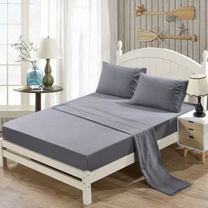 Grincement Broderie Literie souple gris Drap + drap plat + Taie Sets Queen Bedding Sets Filles Literie de Sal yXLs #