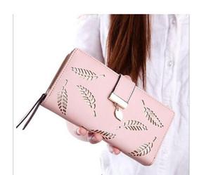 Женские длинные кожаные кошельки листья полые сумки на молнии пряжки женские женские кошельки кошелек оптом и в розницу