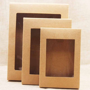Weiß Schwarz Kraft Paper Box mit Fenster-Geschenk-Box-Kuchen-Verpackung Hochzeit Geburtstag Geschenk-Paket-Kasten mit PVC-Fenstern