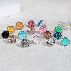 Gioielli Orecchini a mano in resina orecchini rotondi Moda strass orecchini di pietra di fascino del branello orecchino di 2pcs multi colore GWE1725