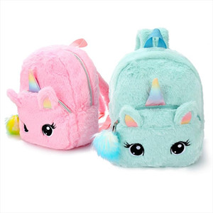 1 PC Plush Unicorn Backpack Fluffy Unicorn School Bag Baby Children School Bag Double Shoulder Bag For Kindergarten Girl Boy