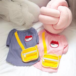 Büyüleyici Schnauzer Teddy Fat Dog için yeni Basit Moda% 100 Pamuk Pet Giyim Japon Okul Üniforması Sevimli Çanta tişört