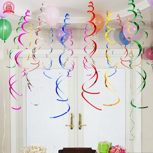 Colorful Spiral Pendant Ceiling Hanging Garland PVC Swirl Banner for Wedding Birthday Party Home Living Room Decoration
