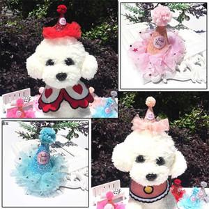 Регулируемая Pet Собаки Caps Cat Dog День рождения костюм блестки украшения Headwear Cap Hat Christmas Party Домашние животные Аксессуары