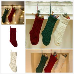 Gift Bag Decoration 46cm a maglia di Natale calze di Natale Camino decorazioni calzini nuovo anno regali della caramella Borse Holder 3 colori