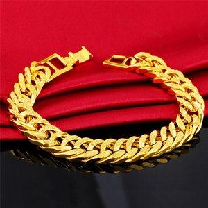 Mling Punk Altın Zincir Bileklik Erkekler 12mm Paslanmaz Çelik Bilezikler Kadın 24k Altın Bileklik Hiphop Moda Takı pulsera hombre