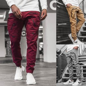 Mens Long Pants Casual Mens Cargo Pants Fashion Street Style Solid Color Panelled Pockets Jogger Pants New Style