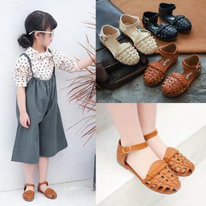 2020 Kids Girls Summer Sandals Baby Girls Toddler Kids Shoes with Sweet Princess Soft Kids Beach Shoes Black Beige Brown