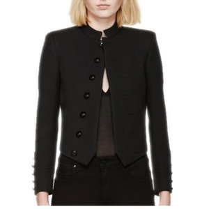 Women's Jackets Casual Short Jacket Black Single-breasted Stand-up Collar Women Coat