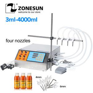 ZONESUN 4 Kopf Düse Flüssigkeit Parfüm Wasser-Saft-Ätherisches Öl Elektrisch Digital Control Pump flüssige Füllmaschine