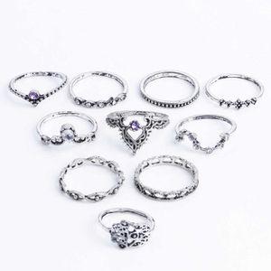 Knuckle anneaux midi 10Pcs / Set Bohême Vintage Crystal Stone cadeaux couronne Fatima Bague main femmes anneaux de mariage Ensembles