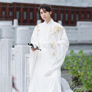 MnTwK Song-fait industrie lourde de style chinois hommes Youchun broderie blanche Chanson Hanfu cou robe ronde Youchun super érudit de fées Song-fait
