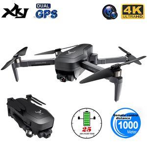 XKJ New Professional GPS Drone 5G WIFI FPV Anti-Shake Self-Stabilizing Gimbal 4K Camera Brushless Motor RC Foldable Quadcopter