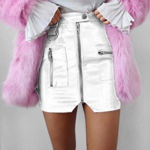 Women Fashion High Waist Pocket PU Skirt Sexy Zip Faux Leather Short Pencil Split Mini Skirt 2020 New Solid Wholesale