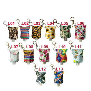 Leopard Sanitizer Bottle Bags Keychain With 30ML Empty Bottle Hand Sanitizer Holder PU Leather Perfume Bottle Cover Party Favor AC11431