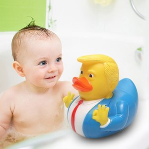Cartoon Trump Duck Bath Shower Water Floating US President Rubber Duck Baby Toy Water Toy Shower Duck Child Bath Float Toy