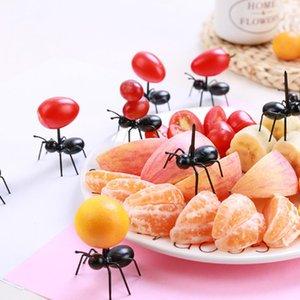 Hot sale 12pcs set Fruit Fork Reusable Kawaii Ant Fruit Fork Tableware Multiple Use Snack Cake Dessert Forks For Party Cl200919