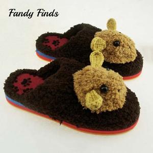 Sonbahar Kış Hayvan Tığ Ev Terlik Yün Örgü El Yapımı Ayakkabı Kadınlar Kapalı Yatak Sıcak Düz Kauçuk Terlik
