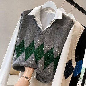 2020 Women Sleeveless Pullover Autumn England Style Vintage Geometric Rhombic V Neck Knitted Sweater Vest Black Waistcoat T360