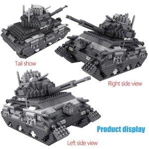1350pcs militar do exército Tanque Mini Blocos Modelo Tijolos Sets Ww2 soldado Figuras educacionais blocos de construção Brinquedos para meninos Crianças qylDUG