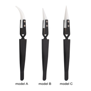 Black Ceramic Tweezers Heat Resistant Cross Lock Reverse Automatic Clamp Nipper Forceps Tweezers For E - Cigarette Heating Coil