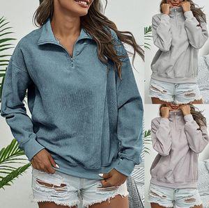 Femmes Jumper Corduroy manteau col mandarin manches longues Pull SWINTER Femme Chemises Casual vrac Pull Sweatershirts Apparel GWF1849