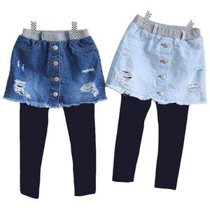 Kids Broken Hole Pants Girls Cave Jeans Spring Autumn New Children Fashion Denim Skirt-pants Baby Girls Clothing