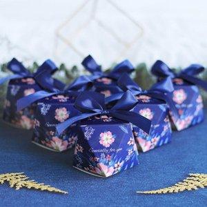 20pcs Yaratıcı Elmas Şeker Kutusu Düğün tercih ve hediyeler Şeker Kutusu Mavi Ferrero Çikolata Kağıdı Hediye Paketleme