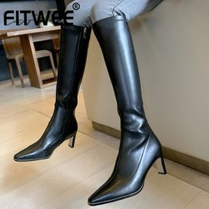 FITWEE Fashion Zipper Knee Boots Women Thick Heel Winter Shoes Woman Warm New Sexy Long Boot Square Toe Footwear Size 34-39