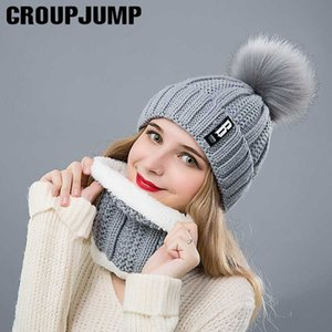 Fashion Winter Hat&Scarf Set For Women Girls Warm Beanies Ring Scarf Pompoms Winter Hats Knitted Caps And Scarf 2 Pieces Set
