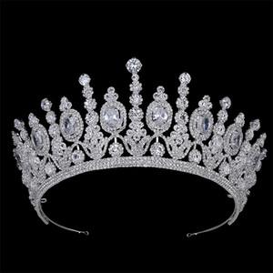 Hadiyana New Bridal Classical Couronne De Mariage Crowns Luxury Elliptical Zircon Wedding Party Big Crown For Women BC4053 Y200807