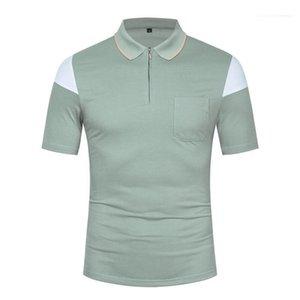 Tops color sólido masculino ropa para hombre 2020 de lujo de Polos de verano de manga corta con paneles Loose cuello alzado