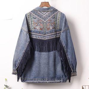 5XL Plus Size Denim Women Jacket Autumn Vintage Floral Embroidery Tassel Loose Coat Long Sleeve Streetwear Outerwear Female Y76