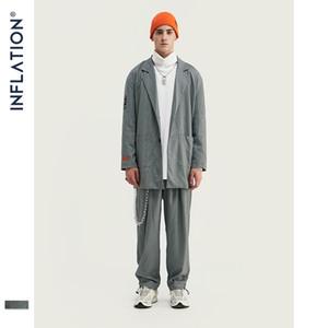 INFLATION New Arrival Luxury Men Blazer Loose Fit Fashion Streetwear Men Suit Grey Check Terno Masculino Blazers Men Streetwear LJ200923
