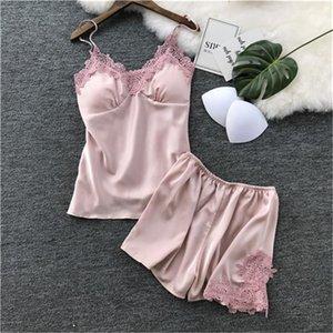 Спагетти ремень Сплошной цвет Женский Pajama наборы Повседневная Корея Стиль Женская одежда Летняя женская Дизайнер Sleepwear Sexy