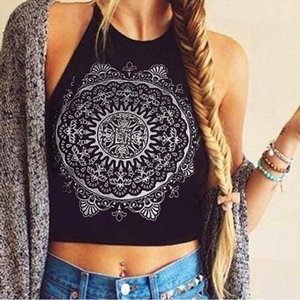 Fashion White Black Women Backless Camis Sexy Cropped Tops Mandala Printed Sleeveless Halter Neck Tank Crop Tops Vest T Shirt