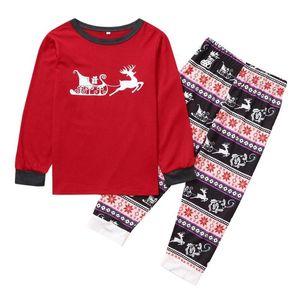 2PCS عيد الميلاد جديد تتسابق الأطفال أطفال دير المطبوعة الأعلى + سروال عيد الميلاد الملابس الأسرة البيجامة الشتوية الملابس لطيف للبنات الطفل