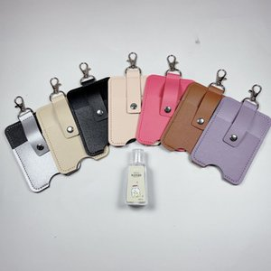 Portable Keychain Hand Sanitizer Holder PU Leather Case Key Chains Pink Khaki Travel Outdoor Key Chain for Reusable Bottle GWD1871