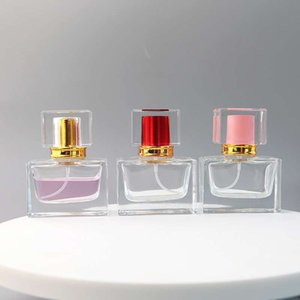 1 oz botellas de perfume vacío Square, 30ml botella de cristal clara fina niebla atomizador de perfumes, colonias, y aromaterapia