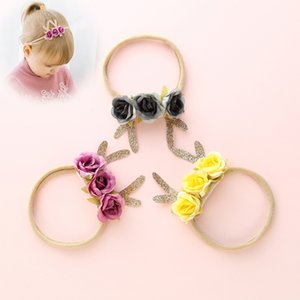 6pcs lot Deer Antler Flower Headbands Nylon Headband, Christmas Hair Band For Girls, Kids Cute Soft Elestic Hair Accessories