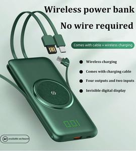 10000 / 20000mAh drahtloses Aufladen Energien-Bank mit Kabeln Ultradünner digitale Anzeige mit großer Kapazität Multifunktionale stilvoll drahtlose Lade