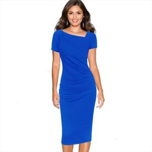 Women Asymmetric Neckline Elegant Modest Ruched Draped Work Office Casual Party Bodycon Sheath Vestidos Dress 1076