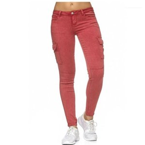 With Pockets Skinny Solid Color Designer Womens Jeans Mid Waist Capris Ladies Pencil Pants Fashion Female Trousers