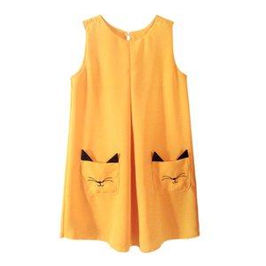 Girls dress 2020 summer solid color suspender skirt cat design baby girl skirt