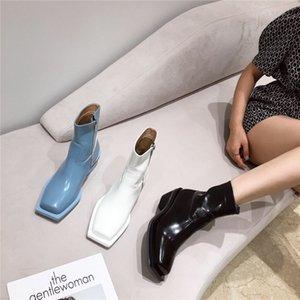 2092020 zapatos del nuevo de cabeza cuadrada zapatos de las mujeres de botas cortas de las mujeres de la cremallera lateral 235-1 Ejército punky del cuero genuino de cuero de imitación de cuero