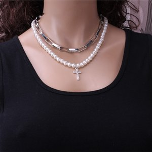 Fashion Pearl Square Chain new personalized Street racket clavicle neck double-layer necklace