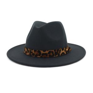 Unisex Lana Feltro jazz cappelli di Fedora con cintura del grano del leopardo delle donne degli uomini tesa larga Panama Trilby Carnevale cappello convenzionale