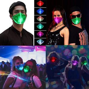 LED Halloween Mask 7 colori variabili luminoso Mascherina Con USB del partito di ballo antipolvere Masque Tessuto Maschera di Mascarillas