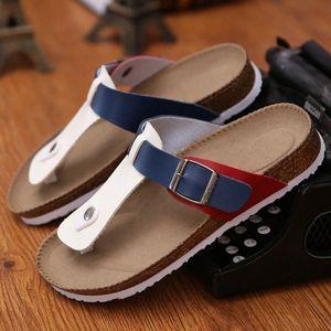 Mixed Colors Buckle Cork Sandalias Femme Slip On Casual Flipflop Cork Gladiator Sandals Women Flat Slippers Lovers Gift Shoes Footwear w9C1#