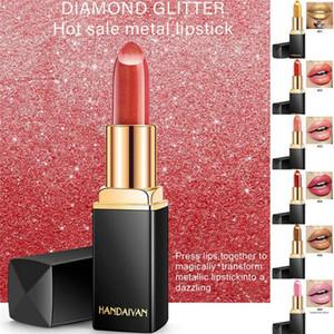Hot sale HANDAIYAN Liquid Lipstick Glitter Metallic Matte Long Lasting Lip Gloss Makeup Tool